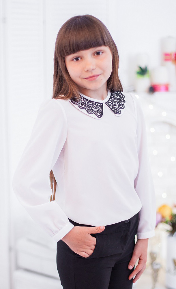 Шифоновая блуза с ажурным воротничком мод.7005