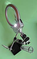 Двойная лупа с подсветкой, зажимами и пружиной для паяльника