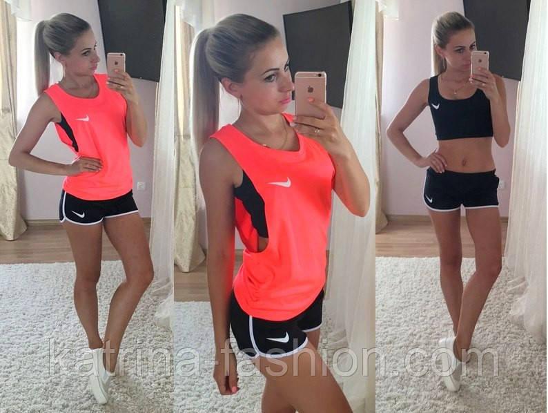 96b9349d123f Женский стильный костюм-тройка: топ, футболка и шорты : продажа ...