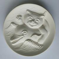 Кот с дельфином тарелка для росписи