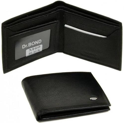 Классический кожаный мужской бумажник dr.Bond M60 black, черный