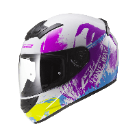 Шлем интеграл LS2 FF352 ROOKIE ONE, WHITE-FLUO IRIS S