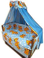 """Акция! Постельный набор в кроватку """"Элит"""" 10 элементов """"Мишки спят New"""" голубое, фото 1"""