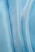 Тюль органза  однотонная  голубая