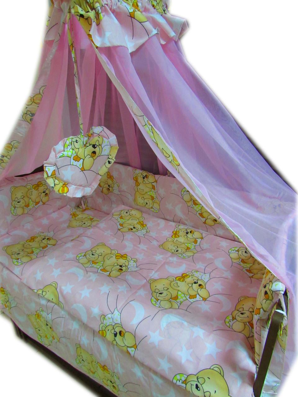 """Постельное  для новорожденных 8 элементов ТМ """"Baby"""" """"Мишки спят New"""" розовый"""