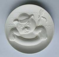Кот на круге 3D тарелка для росписи