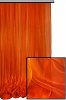 Тюль органза  однотонная  оранжевая