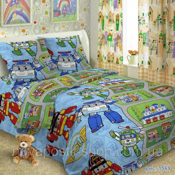 Ткань для детского постельного белья, поплин Робокар Поли