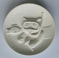 Кот дайвер 3D тарелка для детского творчества
