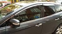 Дефлекторы окон (ветровики) Mazda CX-7 2006-  Хром молдинг, фото 1