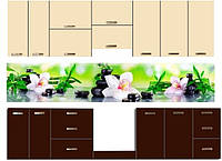 Стеклянный фартук для кухни - скинали Орхидеи, фото 1