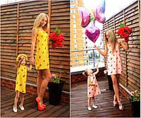 Комплект льняных сарафанов для мамы и дочки №194