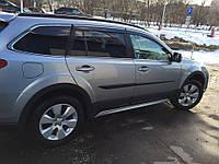 Дефлекторы окон (ветровики) Subaru Outback 2009-2015 С Хром молдингом