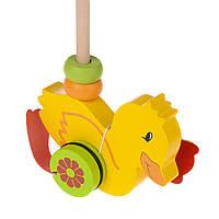 Дерев'яна іграшка каченя на палочці IE173