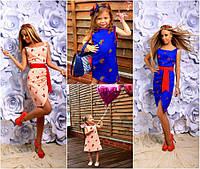 Комплект льняных сарафанов для мамы и дочки №183