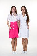 """Біло -рожевий  медичний жіночий   халат  """"Поліна """"   (х/б)"""