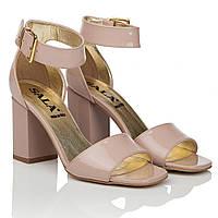 Босоножки женские Sala (модные, стильные, бежевого цвета, изысканные, на устойчивом каблуке)