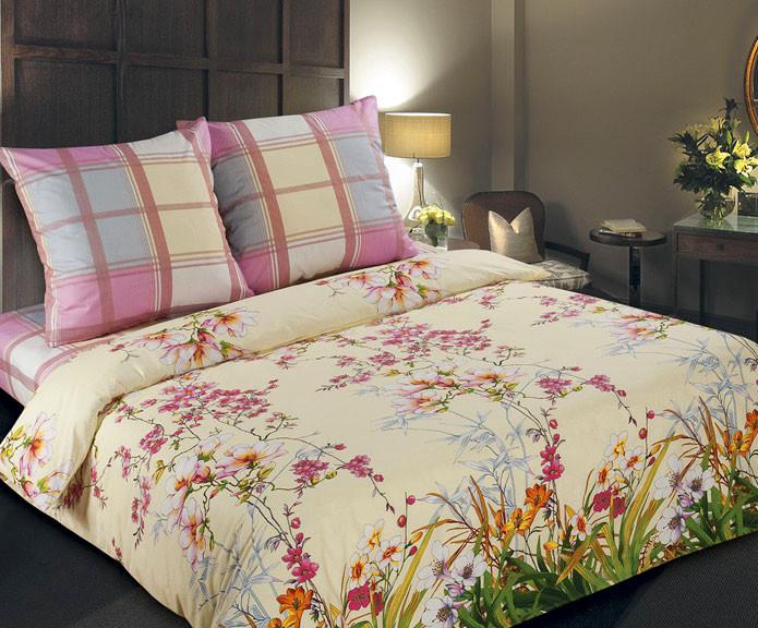Комплект постельного белья евро, поплин Утренний сад