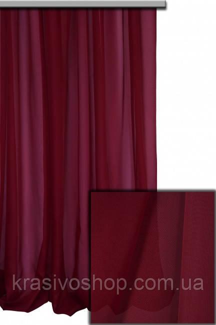 Тюль шифон однотонный бордовый   А86