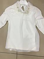 Кофта-блуза для девочек с ажурным воротничком 116-134