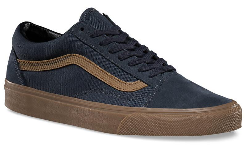 Кеды VANS Old School (Gum Sidestripe) темно-синие с коричневой полосой на  коричневой 06c766a390a