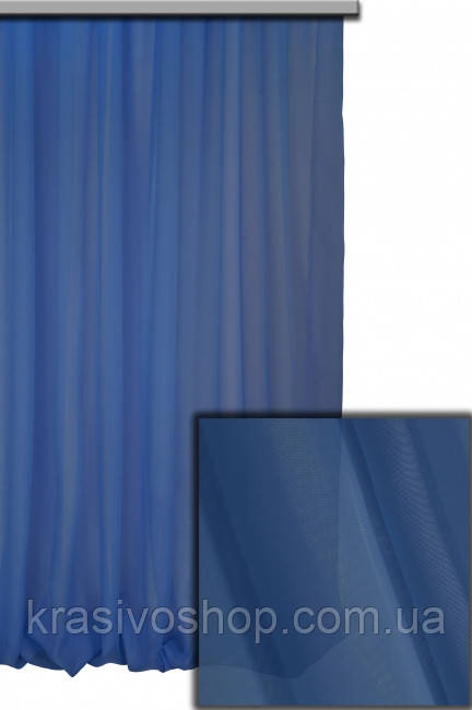 Тюль шифон однотонный синий С46