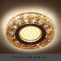Встраиваемый декоративный светодиодный светильник Feron 8585-2 коричневый с LED подсветкой