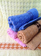 Махровое банное однотонное полотенце Ромбик (3)