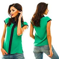 Блуза с воротничком и отделкой. Креп-шифон. Разные цвета.