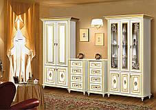 Витрина 3-х дверная Верона/Verona белый/золото (Скай ТМ), фото 3