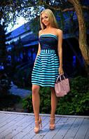 Платье женское нарядное с открытыми плечами  верх-органза полоска юбка - неопрен сетка размеры: 42, 44