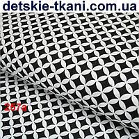 Ткань с сеткой из лепестков чёрного цвета № 257а