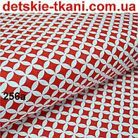 Ткань с сеткой из лепестков красного цвета №256а