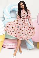 Женское шелковое платье юбка клеш размер С М Л