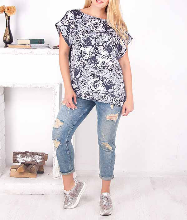 "Летняя свободная блузка ""Розана"" от 52 до 72 размера"