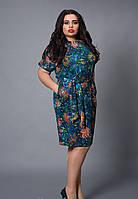Женское платье с цветами большой размер
