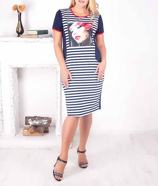 f793eeef5e7 Полосатое платье большого размера
