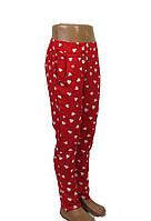 Штаны штапельные для девочки 5-8 лет с карманом, красный