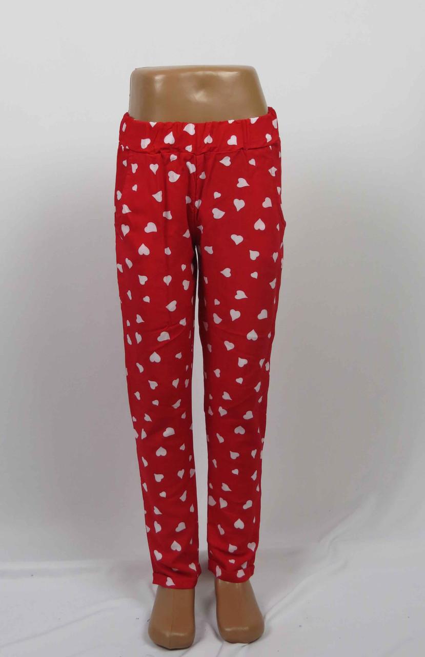 Штаны штапельные для девочки 5-8 лет с карманом, красный, фото 2