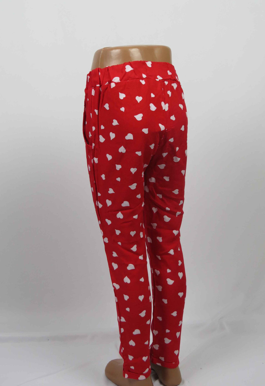 Штаны штапельные для девочки 5-8 лет с карманом, красный, фото 3