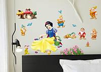 Наклейка виниловая Белоснежка и 7 гномов 3D декор