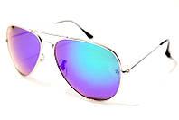 Солнцезащитные очки Ray Ban Aviator 3027 С7 SM 02791, зеркальные капельки Рей Бен фиолетовые