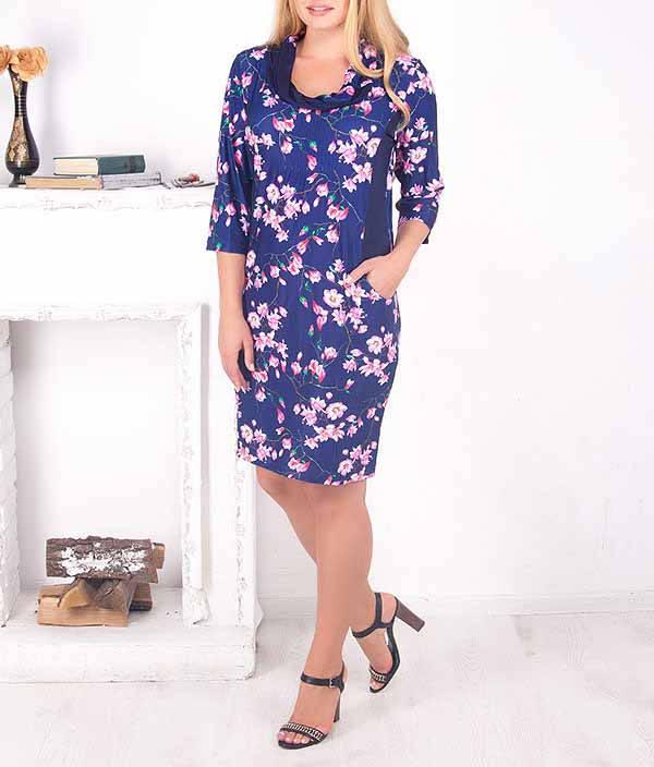 """Красивое платье большого размера """"Амарула"""" с цветами"""