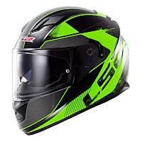 Шлем (интеграл с очками+подкачка) LS2 FF320 Stinger Black Fluo-Green- M