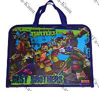 """Папка-портфель на молнии  с тканевыми ручками FC """"Ninja Turtles"""" 1Вересня"""