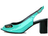 Бирюзово-черные лаковые босоножки на каблуке 37