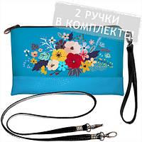 Голубой клатч с принтом Букет цветов