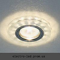 Встраиваемый декоративный светодиодный светильник Feron 8686-2 серебро LED подсветкой