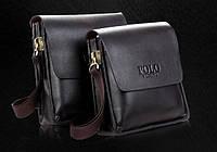 Мужская стильная кожаная сумка POLO (большая). Сумка-планшетка - сумка через плечо.