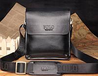 Мужская стильная кожаная сумка POLO (черная). Сумка-планшетка - сумка через плечо.